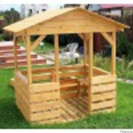 """Беседка """"Детская"""" с деревянной крышей"""