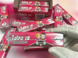 Блок жевательных конфет с вкладышами Love is. .60 шт. Арбуз - Тропик