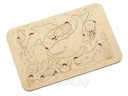 Деревянный развивающий пазл-раскраска «Морские Жители»
