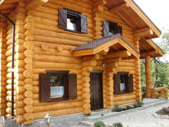 Изготовление домов бань из бревна оцилиндрованного и рубленн