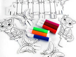 Домик раскраска картонный + 6 фломастеров. Игрушка