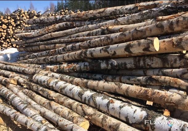 Дрова в бревнах лиственных пород (берёза, ольха)