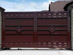 Двухстворчатые распашные ворота (металл, панель)