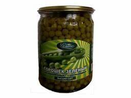 Горошек зеленый консервированный высший сорт
