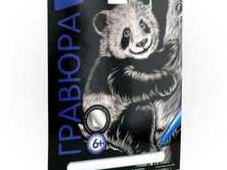 """Гравюра Классика большая с эффектом серебра """"Озорная панда"""""""