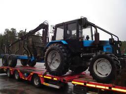 Трактор МТЗ с лесовозной тележкой Тигер и с манипулятором