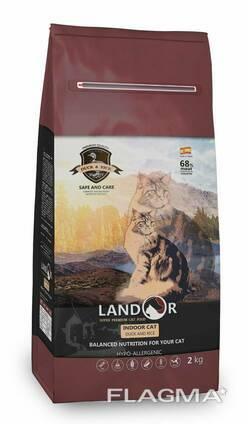 Landor Полнорационный сухой корм для кошек, живущих в помещении утка с рисом 10 кг. ..