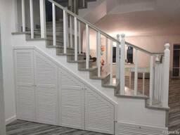 Отделка монолитной лестницы деревом