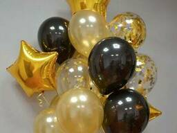 Композиция из гелиевых шаров Фонтан чёрное золото со звёздами / большой