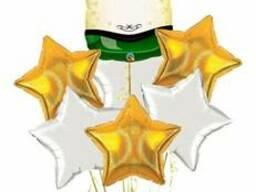 Композиция из шаров с гелием фигура шампанское и звездный фонтан