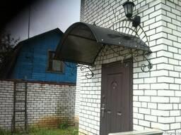 Козырьки над входной дверью (арка с ковкой). Доставка по РБ.