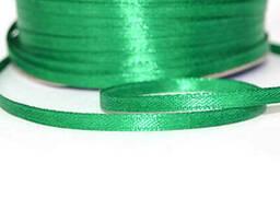 Лента атласная двухсторонняя 3 мм бобина 100 м Зеленая трава