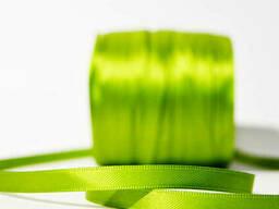 Лента атласная двухсторонняя 6 мм бобина 100 м Зеленое...