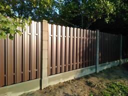 Модульный забор , еврозабор из бетонных столбов