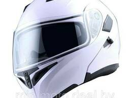 Шлем мотоциклетный 1STORM HB89 модуляр (с очками) черный глянцевый M
