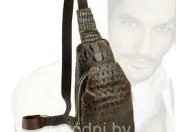 Мужская сумка Аллигатор . Кожаный слинго рюкзак Crocodile (Крокодил)
