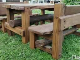Набор Дубовой мебели «Вечный» (стол 2 скамьи с регулируемы