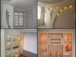 Натяжные потолки, потолки из гипсокартона - фото 2