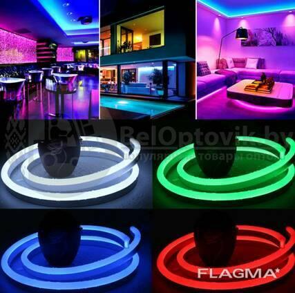 Неоновая светодиодная лента Neon Flexible Strip с контроллером / Гибкий неон 5 м. Красный