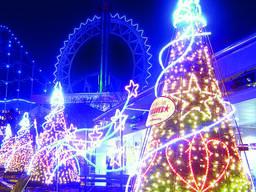Светодиодные новогодние ели и каркасные украшения