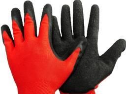 Перчатки из красного полиэстера с латексным наладонником