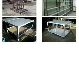 Пирамида для стекла, столы, стеллажи для склада
