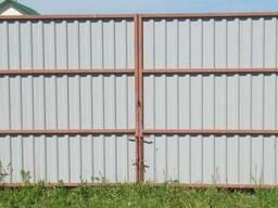 Распашные ворота из профлиста (зелен, шоколад, вишня, синий)