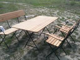 Садовая мебель кованная складная скамья, стулья, стол.
