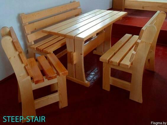 Садовые столы, скамьи, мосты, лежаки из дерева
