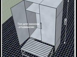 Шкаф гардеробный с лавкой (всё из нерж стали) 900х500х1750мм