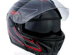 Шлем для мотоцикла 1STORM HB89 модуляр (с очками) черно-красный M