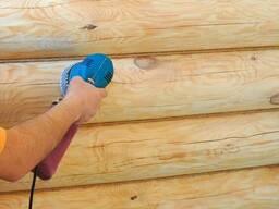 Шлифовка срубов, деревянных домов и бань