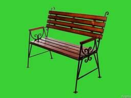 """Скамейка садовая """"Люкс"""" с деревянными подлокотниками."""