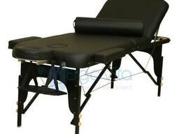 Складной массажный стол дерево ErgoVita Elite валик (черный)
