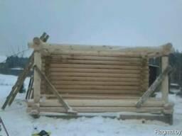 Срубы лестницы беседки столы из оцилиндрованного бревна