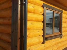 Сруб. Деревянный дом, баня. Рубка из сосны Диаметром от 26см