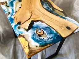 """Стол 3D диорама-картина """"Море"""" дуб"""