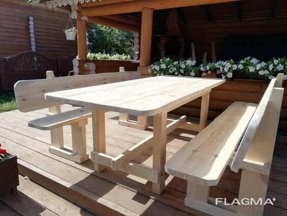 Стол и скамейки (садовая мебель)