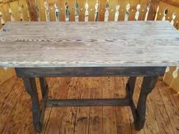 Стол садовый деревянный. Стол кухонный дачный. Вариант 1