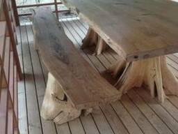 Стол и скамейка из дубового массива