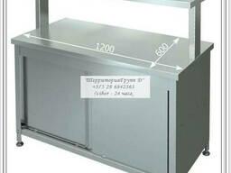 Стол -тумба с подставкой из нержавеющей стали (двери купе)