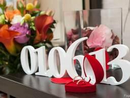 Свадебные буквы, дата свадьбы, рамки с инициалами и др.