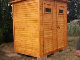Туалет-душ для дачи и сада из дерева большой