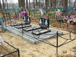 Ограда на могилу с кольцами из профиля!