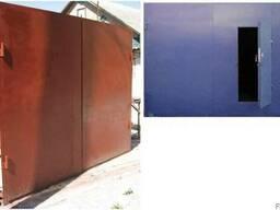 Ворота гаражные металлические с коробкой и калиткой
