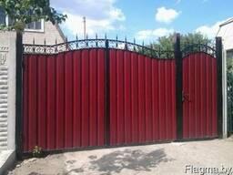 Ворота, калитка из кованных элементов, профнастила, металлош