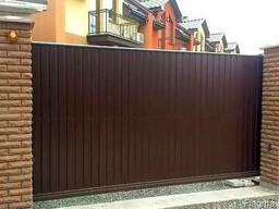 Ворота откатные из металлопрофиля и штакетника под ключ