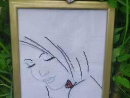 Вышивка крестиком Серия Девушка с бабочкой