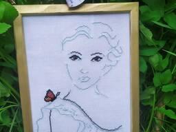 Вышивка крестиком Серия Девушка с бабочкой 5