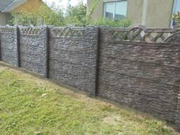 """Забор цветной бетонный двухсторонний без щелей """"Скала"""" 1,5м"""